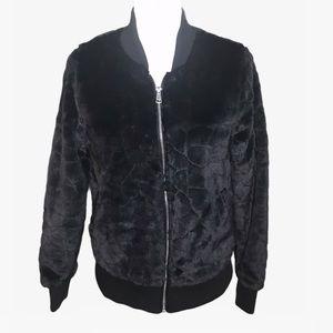 Ashley Full Zip Faux Fur Women's Bomber Jacket - M